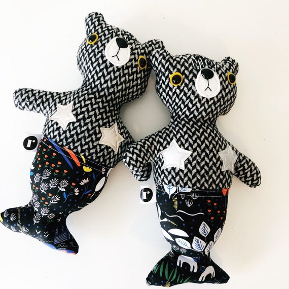 Stuffed Bear Furrmaids with Silver Stars - READY TO SHIP