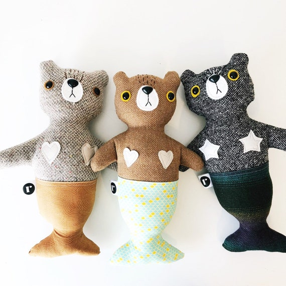 Stuffed Bear Furrmaid in Brown Wool - READY TO SHIP
