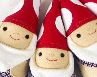 Forest Gnome Stuffie with Red Mushroom Hat