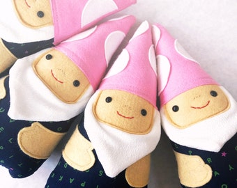 Forest Gnome Stuffie with Pink Mushroom Hat