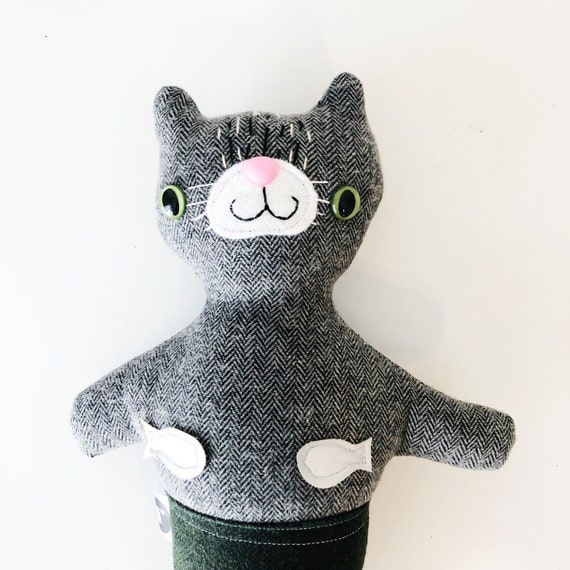 Stuffed Cat Purrmaid in Black - READY TO SHIP