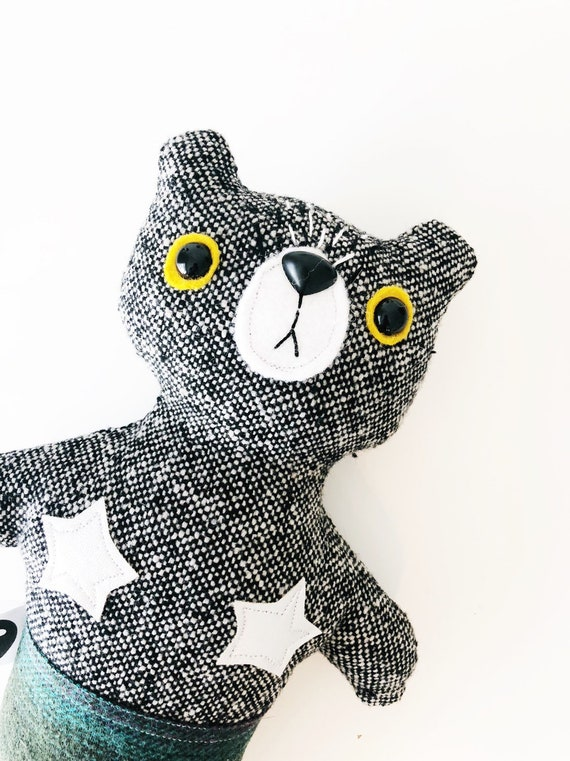 Stuffed Bear Furrmaid in Black and White Wool - READY TO SHIP