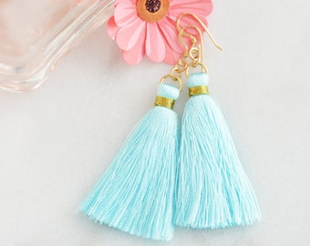 Silk Earrings in Aquamarine, New Long Earrings, Fringe Statement Earrings, Statement Tassel Earrings, Hipster Earrings, Tassel Earrings