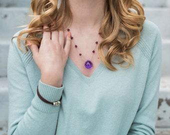 Amethyst Pendant Necklace, Swarovski Crystal Jewelry, Silver Chain Necklace