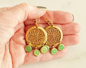 Chandelier Drop Earrings, Boho Style, Bohemian Earrings, Boho Earrings, Boho Style Earrings, Metal Jewellery, Brass Jewelry, Boho Fashion