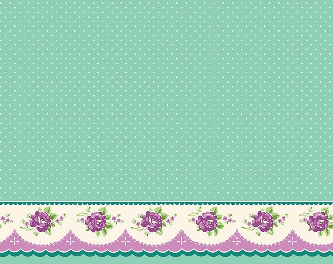 Prim and Proper Fabric by Lindsay Wilkes from The Cottage Mama for Riley Blake Designs and Penny Rose Fabrics - Teal Border Print