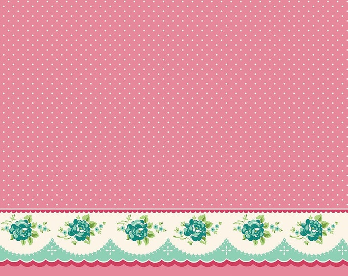 Prim and Proper Fabric by Lindsay Wilkes from The Cottage Mama for Riley Blake Designs and Penny Rose Fabrics - Pink Border Print