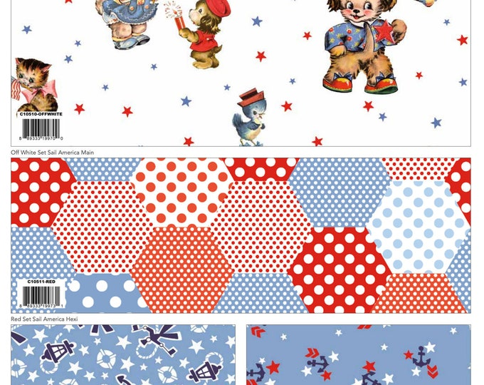 7 Yard Colorway Bundle White - Set Sail America Fabric by Lindsay Wilkes for Riley Blake Designs