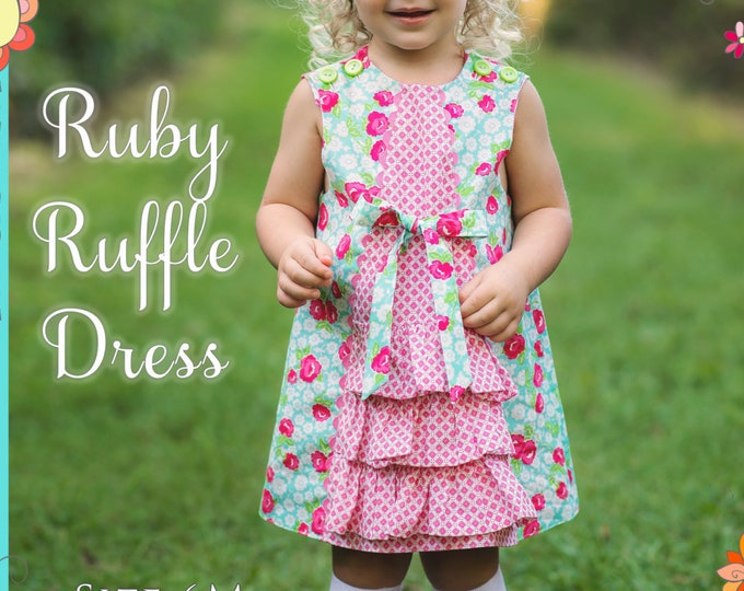 PRINTED Sewing Pattern: Ruby Ruffle Dress - Original Printed Sewing Pattern - Size 6 Month through 10 Years