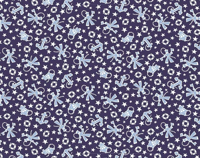 Yardage Sailors Navy - Set Sail America Fabric by Lindsay Wilkes for Riley Blake Designs
