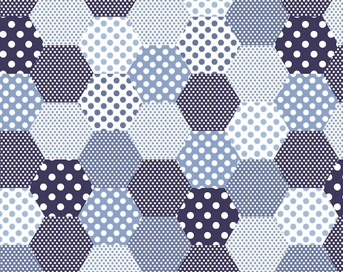 Yardage Hexies Navy - Set Sail America Fabric by Lindsay Wilkes for Riley Blake Designs