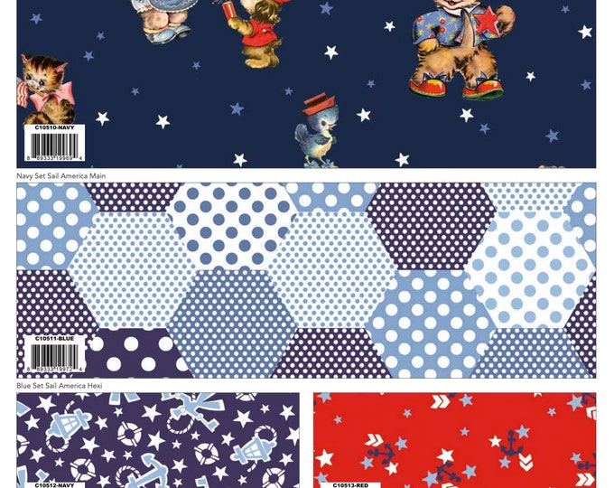 7 Yard Colorway Bundle Navy - Set Sail America Fabric by Lindsay Wilkes for Riley Blake Designs