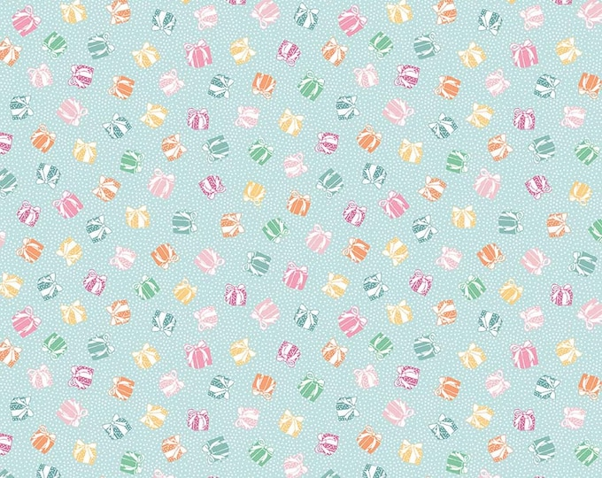Perfect Party Fabric by Lindsay Wilkes from The Cottage Mama for Riley Blake Designs and Penny Rose Fabrics - Presents Blue