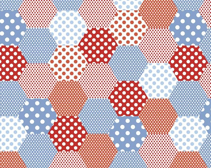 Yardage Hexies Red - Set Sail America Fabric by Lindsay Wilkes for Riley Blake Designs
