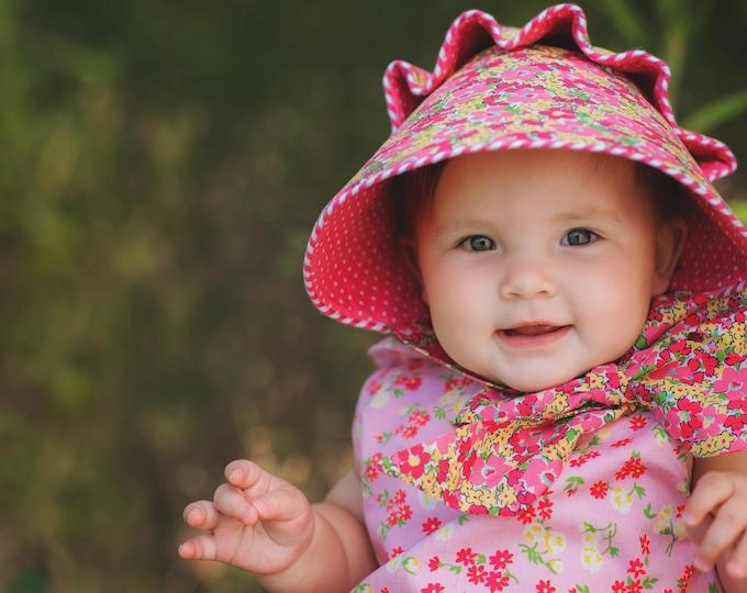 Paper Printed Josie Mae Bonnet - Baby Girl Button Bonnet Pattern - Size Newborn - Size 4