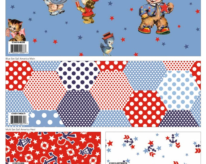 7 Yard Colorway Bundle Blue - Set Sail America Fabric by Lindsay Wilkes for Riley Blake Designs