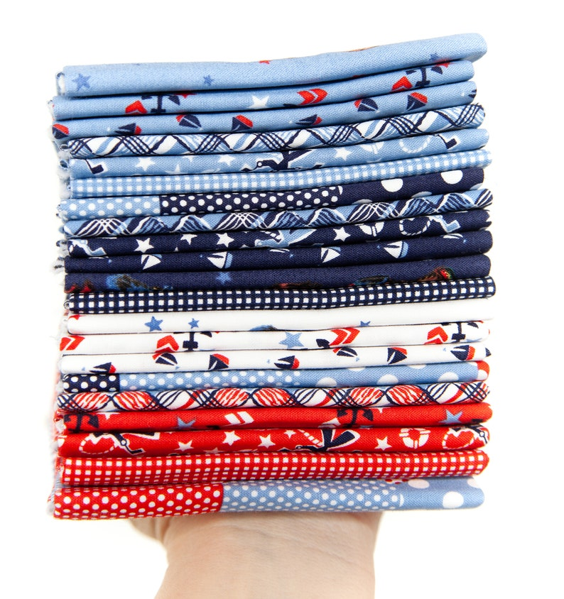 Yardage Main Blue Set Sail America Fabric by Lindsay Wilkes for Riley Blake Designs
