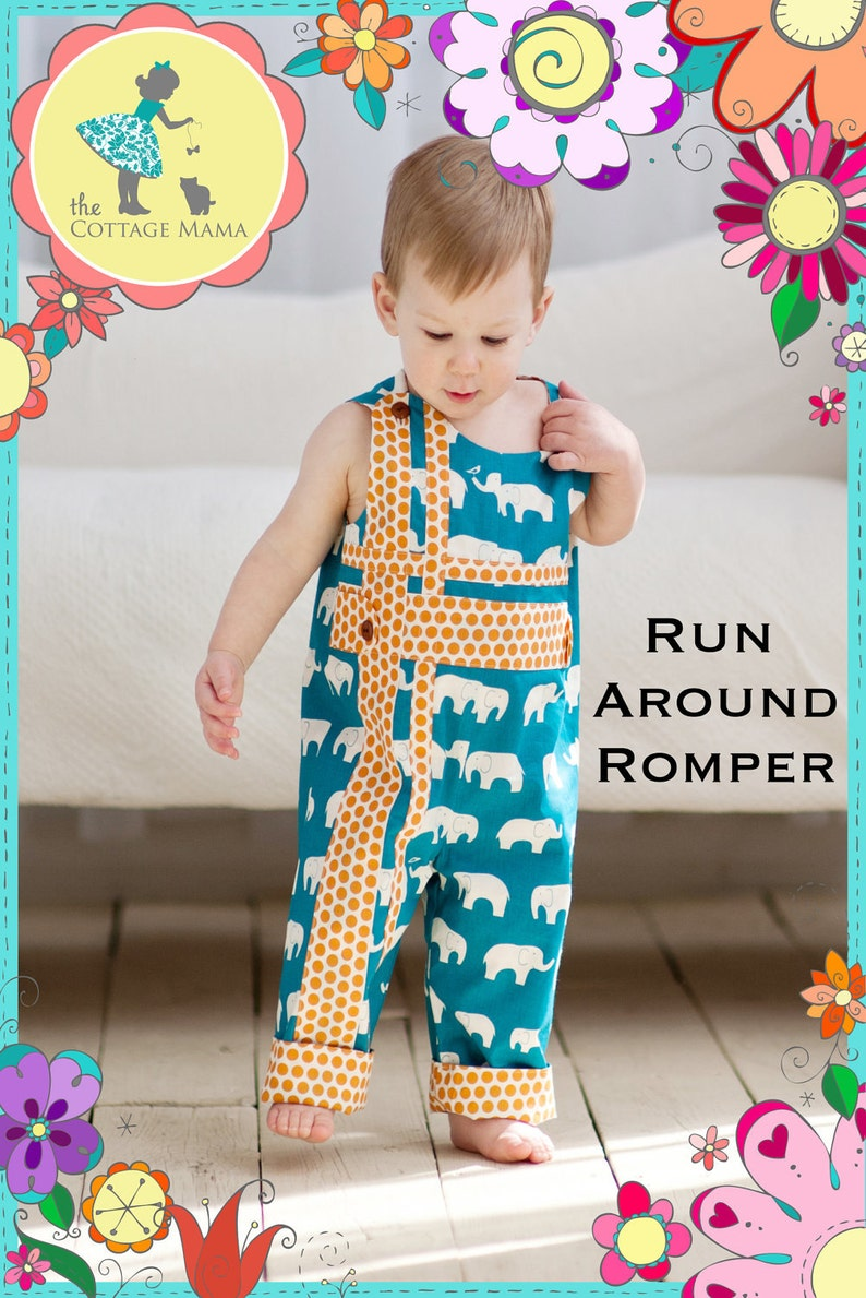 PRINTED Sewing Pattern: Run Around Romper for Boys and Girls  image 0