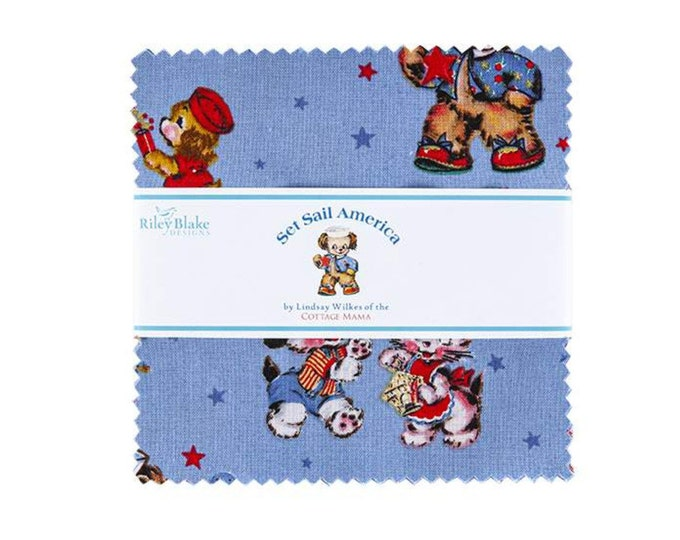 """5"""" Charm Pack - Set Sail America Fabric by Lindsay Wilkes for Riley Blake Designs"""