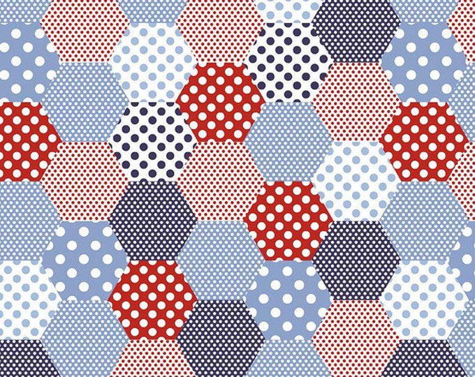 Yardage Hexies Blue - Set Sail America Fabric by Lindsay Wilkes for Riley Blake Designs