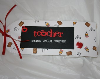 Teacher Thank you gift card holder and greeting card, handmade with free shipping