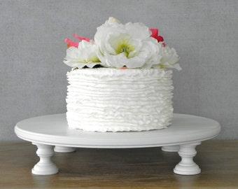 """Cake Stand 16"""" Wedding Cake Stand White Cake Stand Grooms Cake  E.Isabella Designs Featured In Martha Stewart Wedding"""