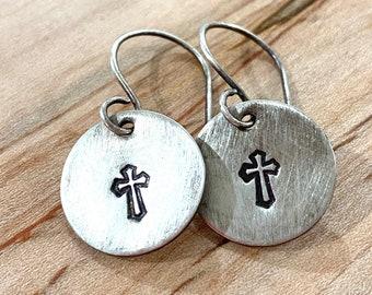 Sterling Silver Handstamped Cross Earrings