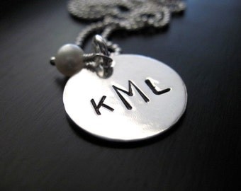 Reserved for Kikozarate...Stamped Monogram Necklace Two Letter Sterling Silver Pendant