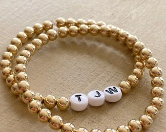 14 Karat 5mm Gold Filled Beads and Initial Bracelet Set