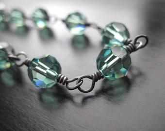 Swarovski Crystal Bracelet, Oxidized Sterling Silver, Wire Wrapped