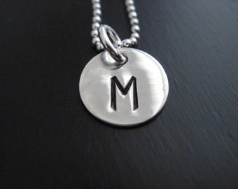 Single Initial Hand Stamped Sterling Silver Pendant