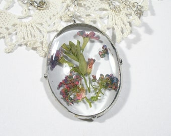 Pressed Flower Necklace, Pink and Purple Dried Flower Pendant, Boho Jewelry, Sterling Silver Chain, Gift for Her
