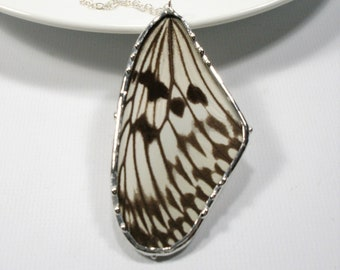 Rice Paper Butterfly Necklace, Statement Necklace, Real White and Black Butterfly Wing Pendant, Nature Jewelry