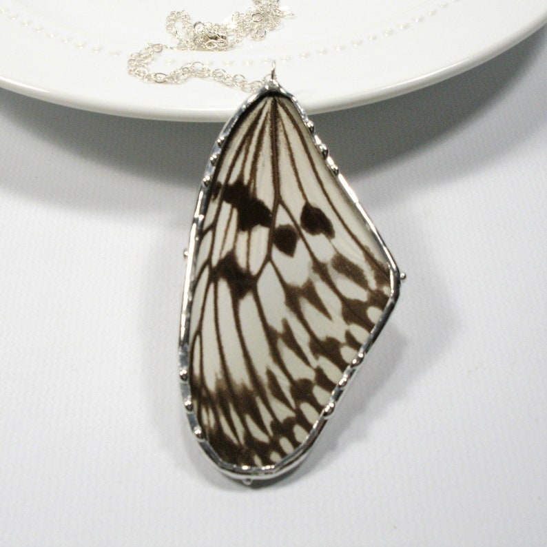 Rice Paper Butterfly Necklace Statement Necklace Real White image 0