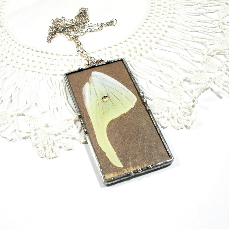 Real Moth Necklace Luna Moth Pendant Butterfly Wing Jewelry image 0