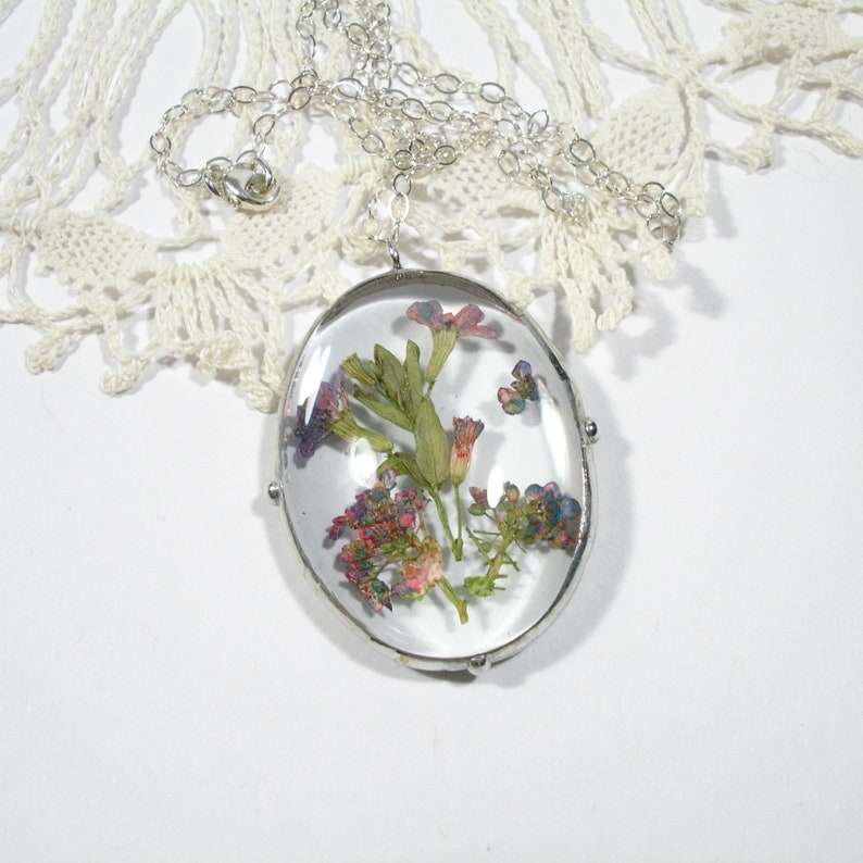 Pressed Flower Necklace Pink and Purple Dried Flower Pendant image 0