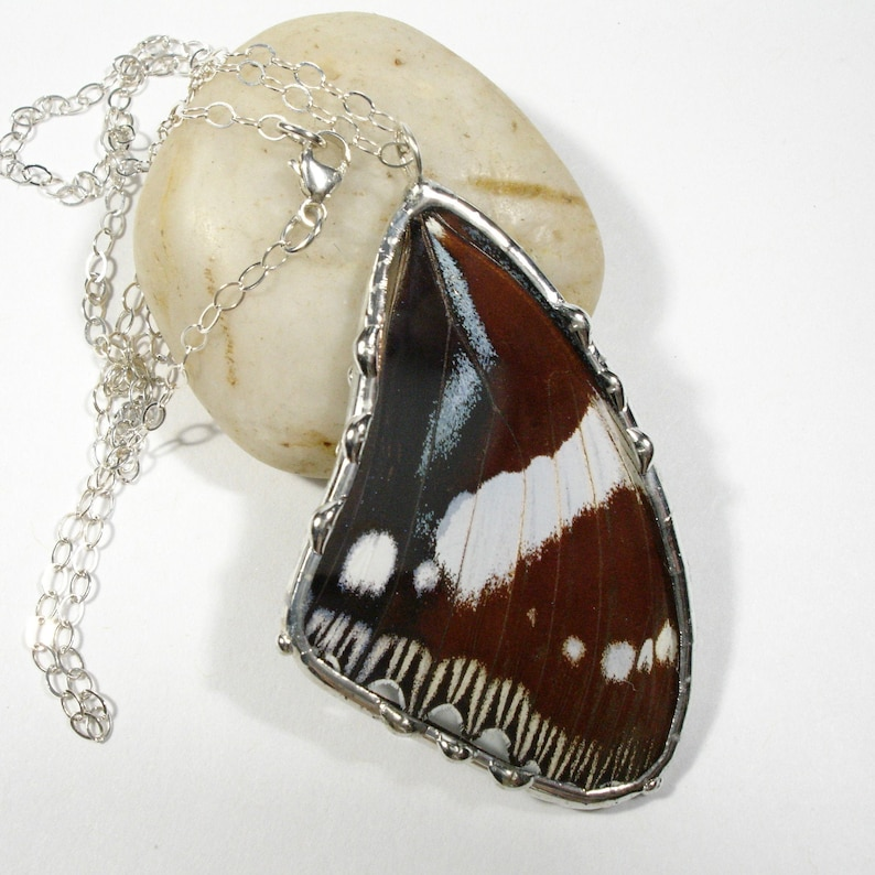 Real Butterfly Necklace Butterfly Wing Pendant Hypolimnas image 0