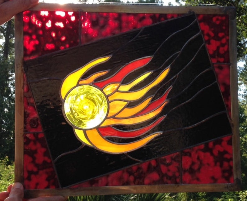 Fireball in stained glass