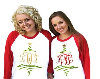 69dda37d192ba monogrammed christmas shirt raglan sleeved