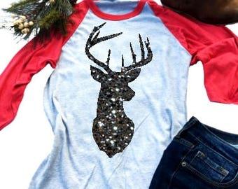 Mens Gold Glitter Reindeer Black//Camo Raglan Baseball Sweatshirt Black