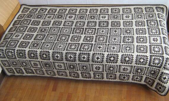 Monochrom Oma Platz Decke Monochrome Afghan Reine Wolle Etsy