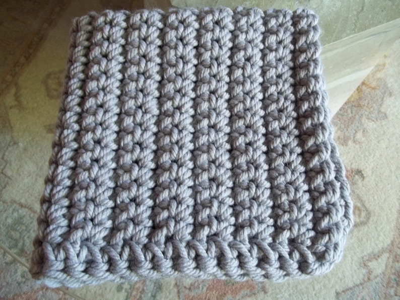 2b4993c97 Gray Chunky baby blanket crochet photo prop bucket bowl basket