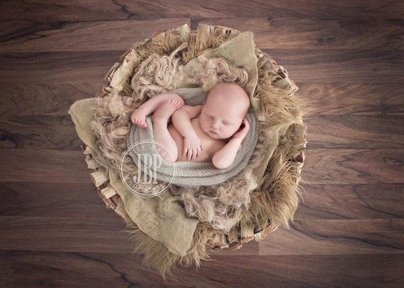 Burlap fluff basket nest filler newborn photo prop organic