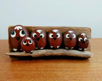 Vintage Painted Rock Owl Family | Kitsch Wall Art | Wood Display | Folk Art Pet Rock