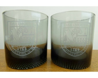 Vintage Smoke Glass Dartmouth (2) Lowball Tumblers - Dimple Base - LOVELY