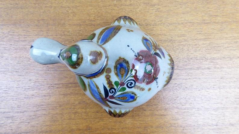 Floral Motif Jorge Wilmot Vintage Tonala Duck Figurine Mexico