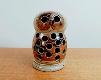 Vintage Vandor Owl Votive Candle Holder | Stoneware Lantern | Butterfly Mark Japan 1969