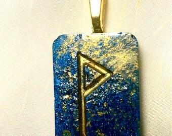 Resin Rune Pendant- Joy/ Wunjo