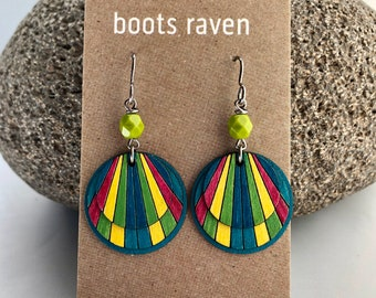 Birch Wood Earrings  Hand Painted  Sustainable Wood  Lightweight Earrings  Art Jewelry  Acrylic Art  Gifts for Her Joy