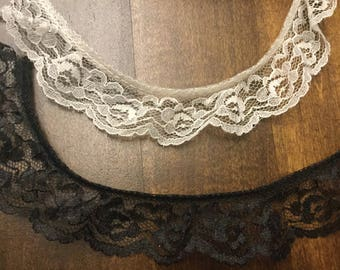 "Ivory or black lace trim 1 .25"" (20 + yards - sold by spool)"